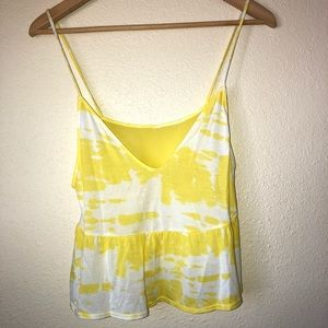 ALO YOGA || yellow and white flutter tank small